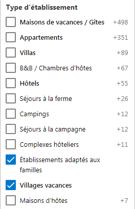 Screenshot Booking villages